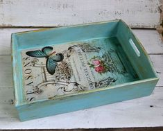 Serving tray Shabby chic serving tray Wood tray by InnaHandMade Serving Tray Wood, Wood Tray, Diy Crafts To Sell, Handmade Crafts, Kitchen Tray, Paper Collage Art, Ottoman Tray, Coffee Table Tray, Decoupage Vintage