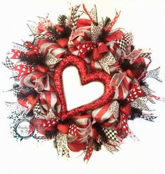 Valentine's Day Silver/Red Deco Mesh Wreath by WreathsEtcbyLisa on Etsy