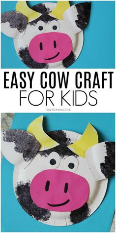 Easy Paper Plate Cow Craft, simple farm craft for kids to make Preschool Farm Crafts, Farm Animal Crafts, Pig Crafts, Sheep Crafts, Animal Crafts For Kids, Paper Plate Crafts For Kids, Crafts For Kids To Make, Toddler Art Projects, Toddler Crafts