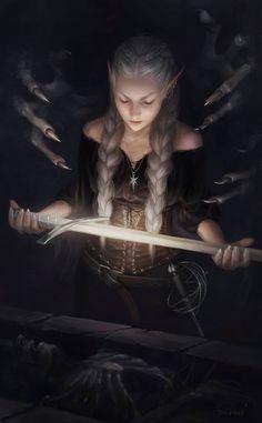 Sariel Uncovers Zora ART by Martina Fačková (PRO) Fantasy Illustrator at White Wizard Games Fantasy Warrior, Fantasy Girl, Dark Fantasy, Elves Fantasy, Fantasy Women, Fantasy Character Design, Character Inspiration, Character Art, Fantasy Characters