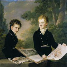 """history-of-fashion: """"ab. 1815 Circle of Heinrich von Füger - Sons of Prince Johann I von Liechtenstein - Prince Franz de Paula and Prince Karl Johann """""""