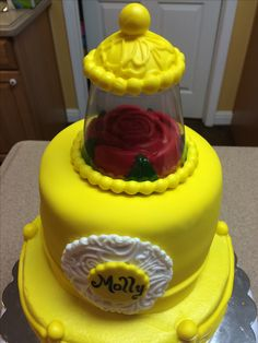 Beauty and the beast themed birthday cake