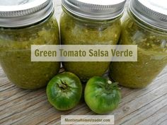 Since we harvested a couple hundred pounds of green tomatoes last week, we cooked up a huge batch of green tomato salsa verde. We now have 48 pint jars of