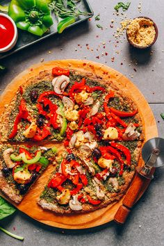 DELICIOUS Vegan Gluten-Free Cauliflower Pizza Crust! 9 ingredients, simple methods, crispy crust + tender center! #vegan #glutenfree #plantbased #pizza #cauliflower #minimalistbaker #recipe