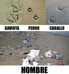 "Las huellas del hombre. Useful image for talking about the Spanish word ""huella"" and the environment."