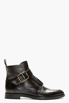 Alexander Wang Black Leather Lena Boots for women | SSENSE