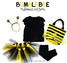 Quick little Bumblebee Halloween costume with tutu.