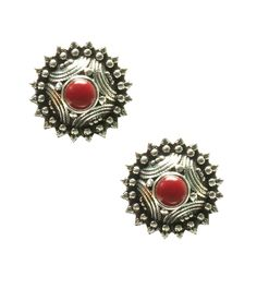 Grey & Red Silver Stone Embellished Earrings #indianroots #jewellery #earrings #silver #embellished #occasionwear