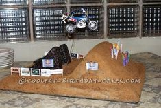 Coolest Dirt Bike Cake... This website is the Pinterest of birthday cake ideas