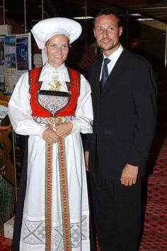 Crown Prince Haakon & Crown Princess Mette-Marit Of Norway'S Visit To Lofthus In The County Of Hordaland.The Couple Had Dinner At The Hotel And Mette-Marit Wore A Traditional Stiffened Headscarf.