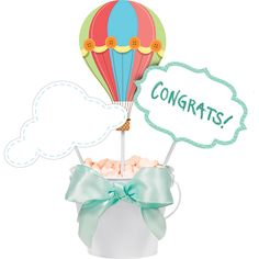 Up, Up & Away Centerpieces Sticks- 18 ct for $9.95 at Napkins.com - Hot Air Balloon Centerpieces - Hot Air Balloon Baby Shower