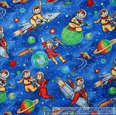 BonEful Fabric FQ Cotton Quilt Michael Miller Blue Dot Earth Space Planet Rocket