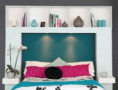 How to make a DIY lighted bookshelf headboard. This is definitely the head board I want for my new room in the fall! Cheap Diy Headboard, Diy Headboards, Bedroom Storage, Diy Storage, Storage Ideas, Extra Storage, Cheap Storage, Image Storage, Bedroom Shelves