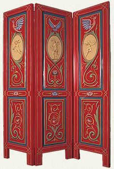 Biombo  Alfredo Genovese (1996)  Esmalte sintético sobre madera.  Medidas: 90 x 130 cm.