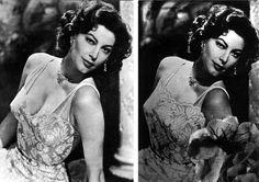 'Retoques' del franquismo - El escote en la fotografía de la izquierda de la actriz estadounidense Ava Gardner  resultó intolerable en los años 50 para la censura franquista, que lo dejó como se ve  en la imagen de la derecha.