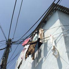 마산 노산동 산비탈, 마당 없는 집의 빨랫줄.