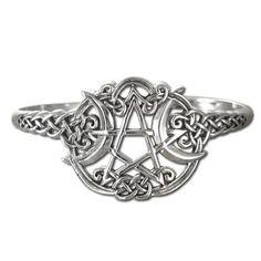 """Sterling Silver Heart Pentacle Pentagram Bracelet by Dryad Design Dryad Design. $119.99. Made of .925 Solid Sterling Silver. Design on front measures 1"""" (25mm) wide. An original design by Paul Borda of Dryad Design"""