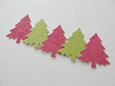 Christmas Decorations, Christmas Tree Die Cuts, Pink Green Glitter Paper Cut Outs, Christmas Gift Tags, Holiday Decorations Tags Set of 12