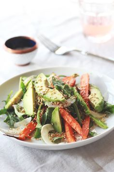 Roasted carrot, avocado and toasted quinoa salad.