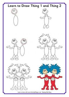 Learn to Draw Thing 1 and Thing 2 from Activity Village - Also has other Seuss creations.