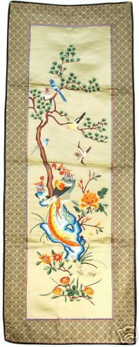 3 Vintage Chinese Embroidered Silk Panels