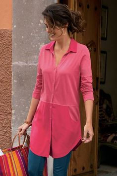 ef1745529b88 The Right Combo Top Mixed fabric combo strikes a modern balance in our  slimming tunic blending