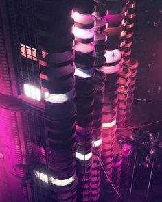 #cyberpunk art graphic future, futuristic cyberpunk city skycraper environment concept art illustration purple cityscape