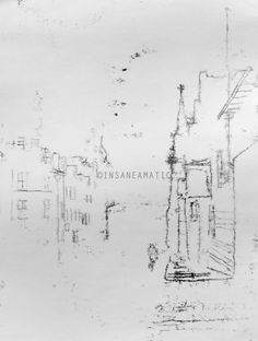 One-off Original Black and White Ink Drawing of Early Morning City Street With Cyclist