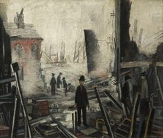 Lowry Blitzed Site 1942 Saw this painting at modern exhibition. It's a very powerful image especially when viewed with the rest of work. Ww1 Art, The Blitz, Spencer, English Artists, Art Uk, Naive Art, Art For Art Sake, Urban Landscape, Art Lessons
