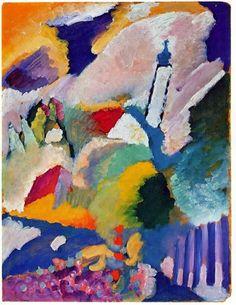 Vasilij Kandinskij - Murnau with Church I (1910). Oil on cardboard, 25 1/2 x 19 3/4 in. (64.7 x 50.2 cm). Lenbachhaus, Munich, Germany