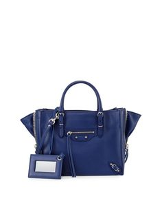 BALENCIAGA Papier A4 Mini Leather Tote Bag, Blue. #balenciaga #bags #shoulder bags #hand bags #leather #tote Leather Purses, Leather Handbags, Blue Bags, Balenciaga City Bag, Tote Handbags, Tote Bag, A4, Man Bags, Mini
