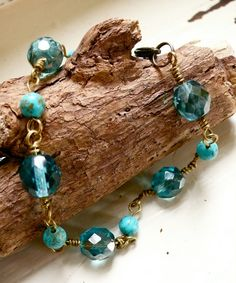 Sea blue and turquois beaded bracelet