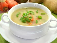Stock Image: Food and Drink - cream of potato soup with vegetables and vienna sausages - Crockpot Recipes, Soup Recipes, Cooking Recipes, Healthy Recipes, Classic Potato Soup Recipe, Cream Of Potato Soup, Bisque Soup, Bosnian Recipes, Diet