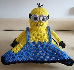 Ravelry: Minion Inspired Lovey Blankie pattern by Knotty Hooker Designs Minion Crochet, Crochet Lovey, Crochet Amigurumi, Manta Crochet, Amigurumi Patterns, Baby Blanket Crochet, Crochet Dolls, Knit Crochet, Crochet Patterns