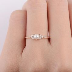 Pearl Engagement Ring 14K Rose Gold Promise Antique Cluster