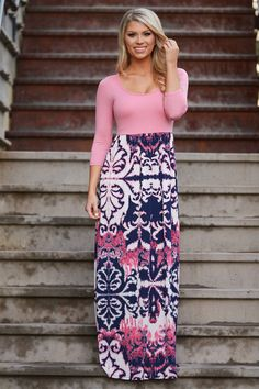 Be Still My Heart Damask Maxi Dress