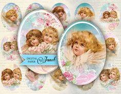 Сладкий Ангел - овальные изображение - 30 х 40 мм или 18 х 25 мм - цифровой коллаж лист - версия для печати
