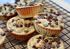 Ingredients:     	1 cup plain Greek yogurt   	2 bananas   	2 eggs   	2 cups old fashioned oats   	1/4 cup brown sugar   	1 1/2 tsp baking powder   	1/2 tsp baking soda   	1/2 cup mini chocolate chips         Directions:     	Grease a