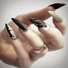18 Trendy Black Nails Designs for Dark Colors Lovers ★ Black Nails with Marble Designs Picture 1 ★ See more: http://glaminati.com/black-nails-designs/ #blacknails #blacknailsdesigns