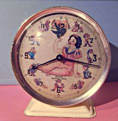 Vintage 1977 French Snow White Alarm clock by by LeBonheurDuJour, $100.00