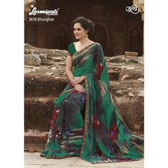 Green floral printed sari with black strip border Green georgette printed Comes with matching unstitched blouse material Laxmipati Sarees, Georgette Sarees, Indian Sarees, Indian Dresses, Indian Outfits, Suits For Women, Clothes For Women, Indian Clothes Online, Saree Blouse Patterns