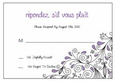 Response Cards (RSVP).  Printable Wedding Invitations Paisley Ashley Suite: Purple and Black