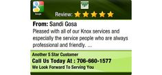 Pleased with all of our Knox services and especially the service people who are always...