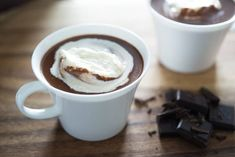 This rich and creamy hot chocolate is easy to make, and has intense chocolate flavor. I've tested all the different ways to make hot chocolate and settled on this method as the best. Garnish with whipped cream or marshmallows for a cold weather treat! Best Hot Chocolate Recipes, Homemade Hot Chocolate, Chocolate Flavors, Melted Chocolate, Chocolate Desserts, Chocolate Chips, Sponge Cake Recipes, Christmas Baking, Christmas 2019