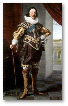 17세기 초기의 의상을 보여주는 초상화이다. 상의의 '두브레'는 몸통을 감싸는 바디스 부분과 허리선 밑의 스커트로 이루어져 있는데, 16세기보다 바디스는 짧아지고 스커트는 길어진 형태이다. 보다 편안하게 몸에 맞춰 재단된 것이라고 할 수 있다. 또한 하의는 풍성한 소시지 형태의 '브리치스'를 입었다. 목 위까지 올라온 러플카라도 매우 화려하다. 그림 속 남자가 입고 있는 의상은 기사복장인 '카발리에'의 형식을 따르고 있다.