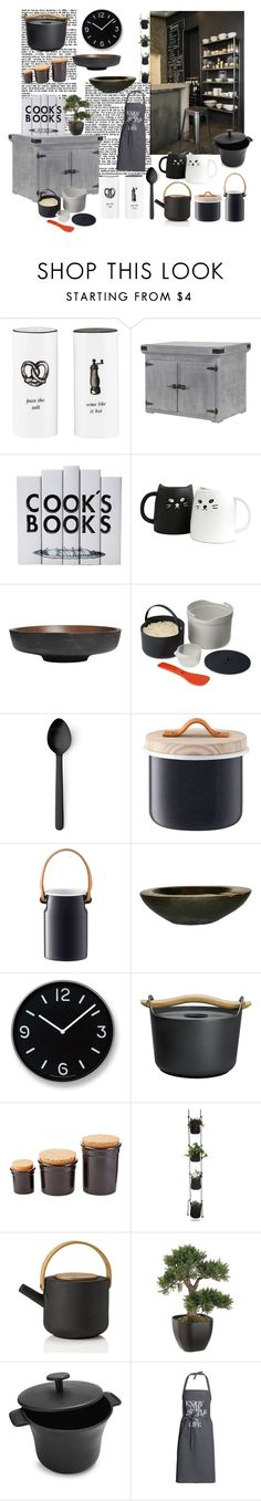 """""""Grey and black kitchen"""" by nathalie-puex ❤ liked on Polyvore featuring interior, interiors, interior design, home, home decor, interior decorating, Kate Spade, Improvements, Menu and LSA International"""