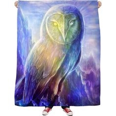 Crystaline Owl Fleece Blanket ($55) ❤ liked on Polyvore featuring home, bed & bath, bedding, blankets, fleece blankets, fleece bedding, owl bedding and owl blanket