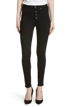 Main Image - Veronica Beard Debbie Exposed Fly Skinny Jeans (Nordstrom  Exclusive) White Denim f456e2c27473