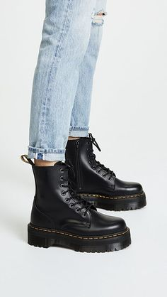 Martens Jadon 8 Eye Boots - Best Long boots outfit - Ways to Wear Boots The Definitive Guide Dr Shoes, Me Too Shoes, Shoes Heels, Shoes Sneakers, High Heels, Doc Martins Shoes, Zapatos Shoes, Superga Sneakers, Asos Shoes