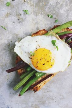 20 Favorite Egg Recipes / Ways to Eat Eggs (for Breakfast, Lunch and Dinner) - Garlicky Beet Green + Green Bean Open-faced Egg Sandwiches